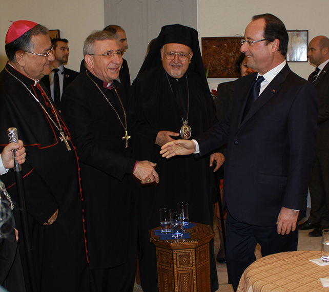 French President Hollande meets with Christian leaders in Jerusalem.