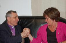 Swedish Social Democratic Party Leader Mrs. Mona Sahlin with ELCJHL Bishop Munib Younan