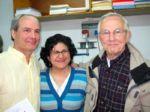 Pastor Mark Nelson, Antoinette Karam of the ELCJHL, Pastor Russ Siler at ELCJHL Printing Room Dedication