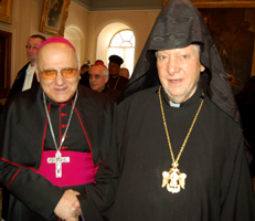 His Beatitude Archbishop Torkom Manoogian, Armenian Patriarch of Jerusalem, and His Beatitude Rt. Rev. Michel Sabbah, as Heads of Churches Pay Christmas Visit to Armenian Patriarchate