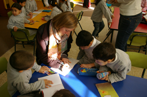 Students at the Evangelical Lutheran School in Beit Sahour with ELCA Young Adults in Global Mission Trena.