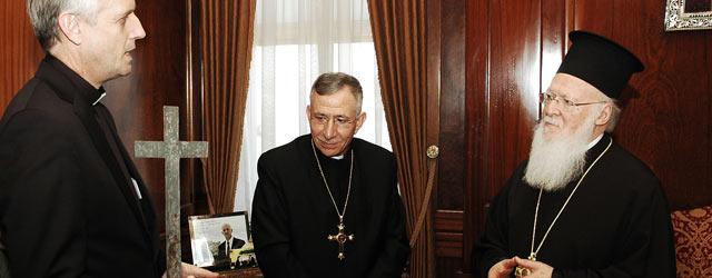 LWF General Secretary Rev. Martin Junge and President Bishop Munib A. Younan meet with Ecumenical Patriarch Bartholomew