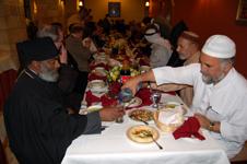 "Muslim and Christian leaders celebrate interfaith ""iftar"" breaking of the Ramadan feast in Jerusalem."