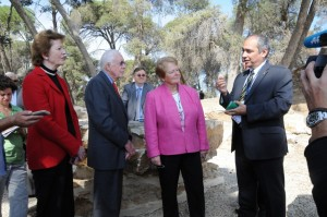 Dr. Tawfiq Nasser speaks with President Jimmy. Photo by Anna Johnson, LWF