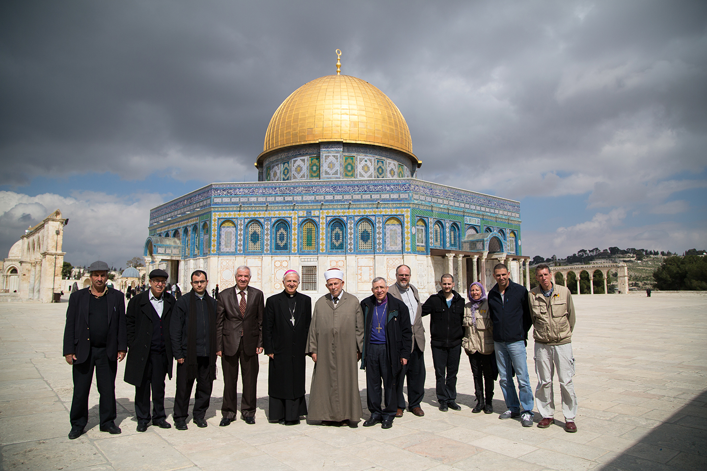 A group of Christians visited Sheikh Abed Atheem, Imam of Al-Aqsa Mosque and M. Azam Abed Alkhatib Altamimi, Head of the Islamic Waqf of Jerusalem to discuss the Israeli Knesset's debate about the sovereignty of Al-Aqsa Mosque. (© Danae Hudson/ELCJHL)