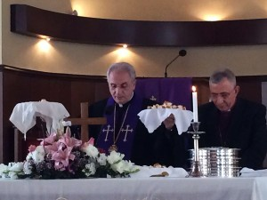 The concelebration between Bishop Munib Younan of the ELCJHL and Rev. Dr. Habib Badr of the National Evangelical Church in Beirut.