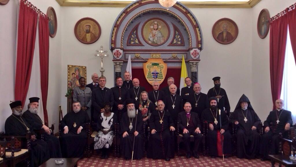 Participants in a meeting with church leaders hosted at the Latin Patriarchate in Jerusalem by Patriarch Fouad Twal. (© WCC/Marianne Ejdersten)